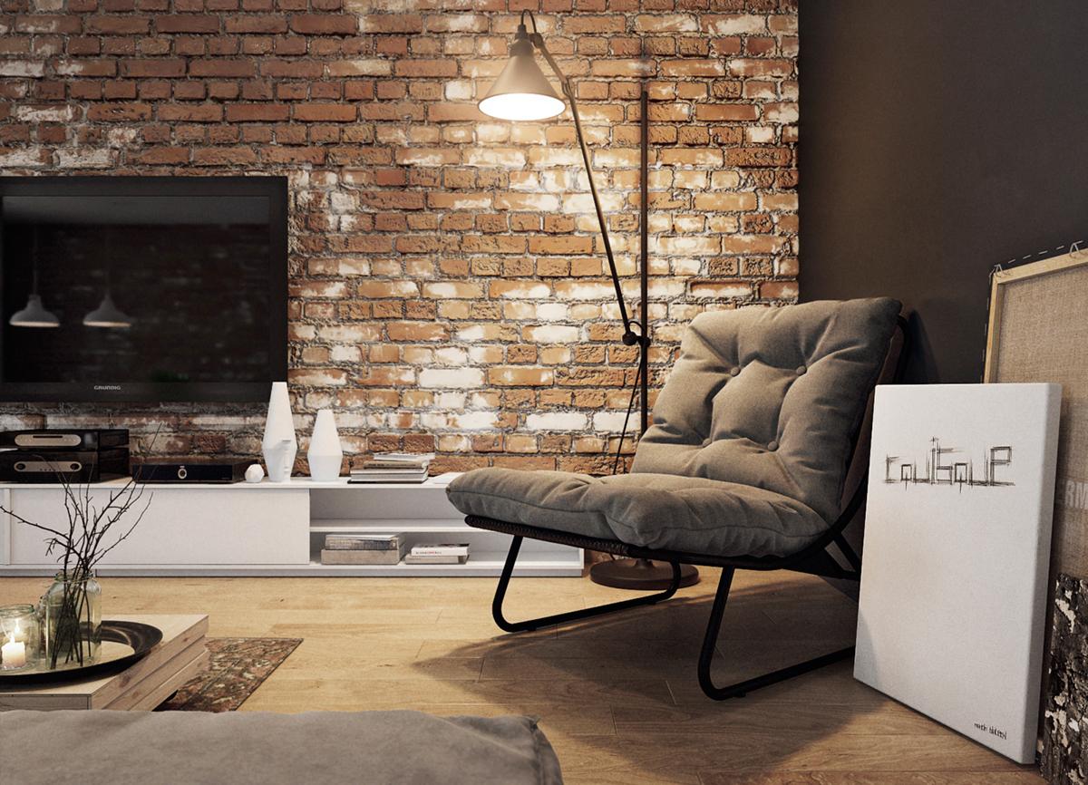 复古工业风格公寓装修客厅休闲一角