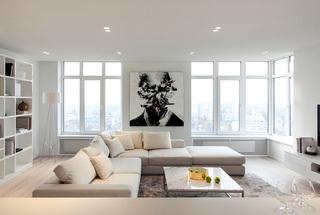 简约白色公寓客厅装修效果图