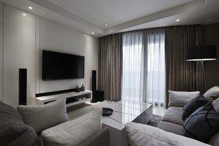 89㎡现代简约风格装修客厅窗帘设计图