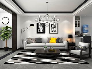 黑白灰北欧风格沙发背景墙装修效果图