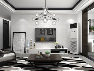 黑白灰北欧风格电视背景墙装修效果图