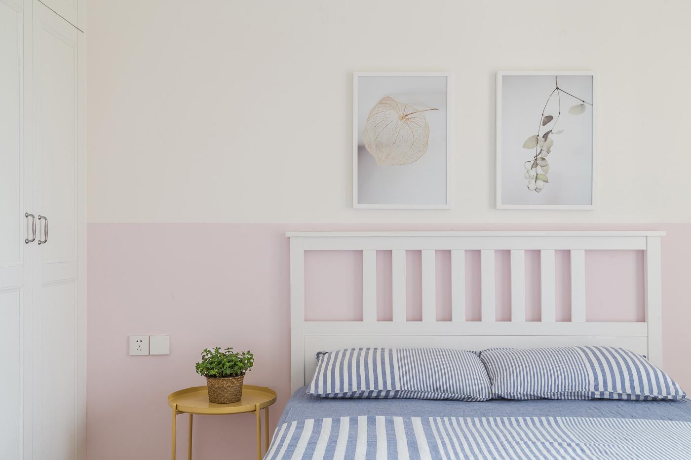 120㎡简约日式风床头背景墙装修效果图