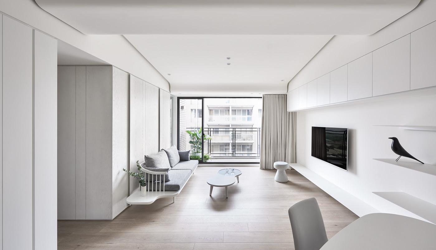 极简风白色公寓装修效果图
