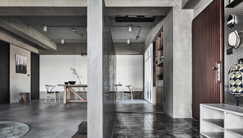 165㎡工业风格客厅隔断装修效果图
