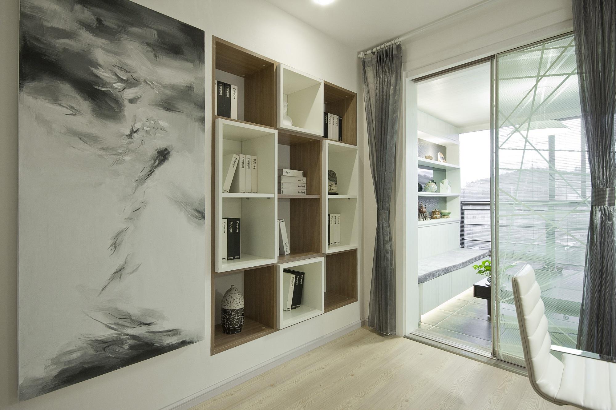 简约现代三居室装修书柜设计图