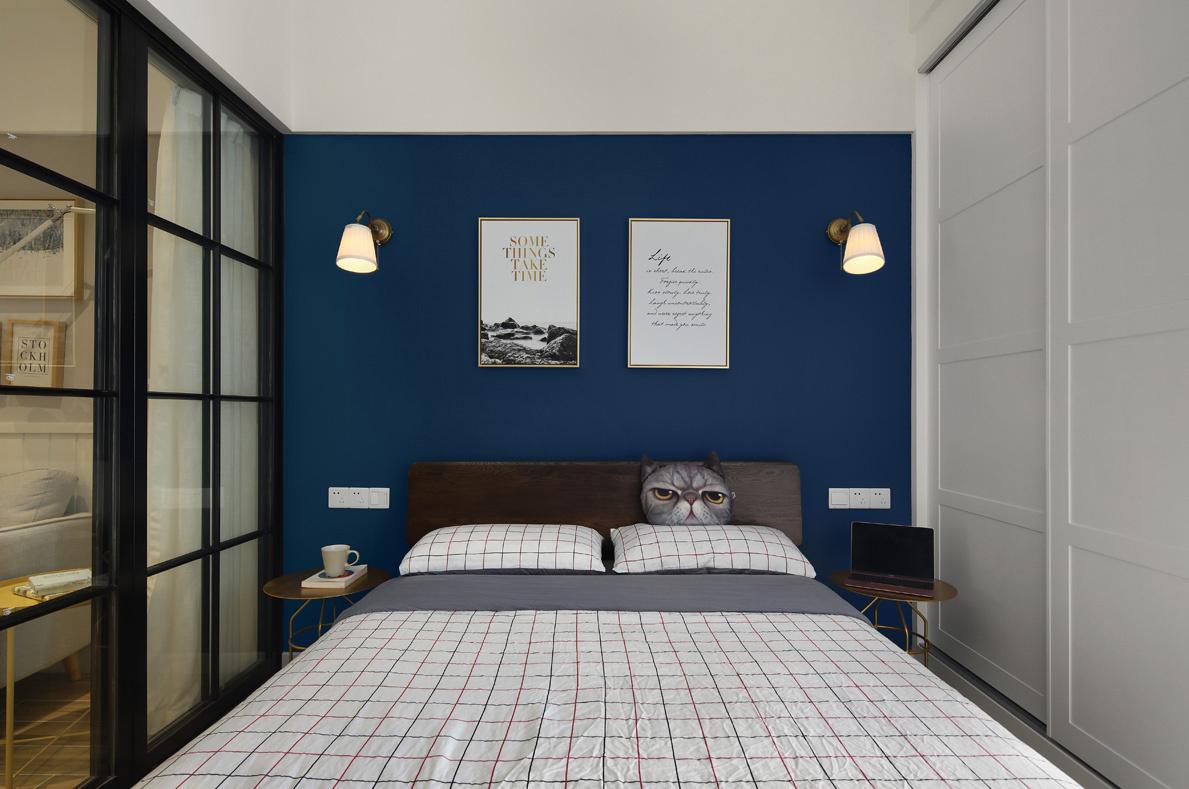 40㎡小户型公寓床头背景墙装修效果图