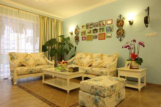 140㎡田园风格沙发背景墙装修效果图