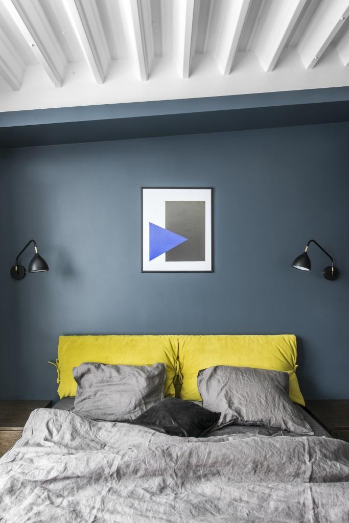 80㎡复式公寓卧室背景墙装修效果图