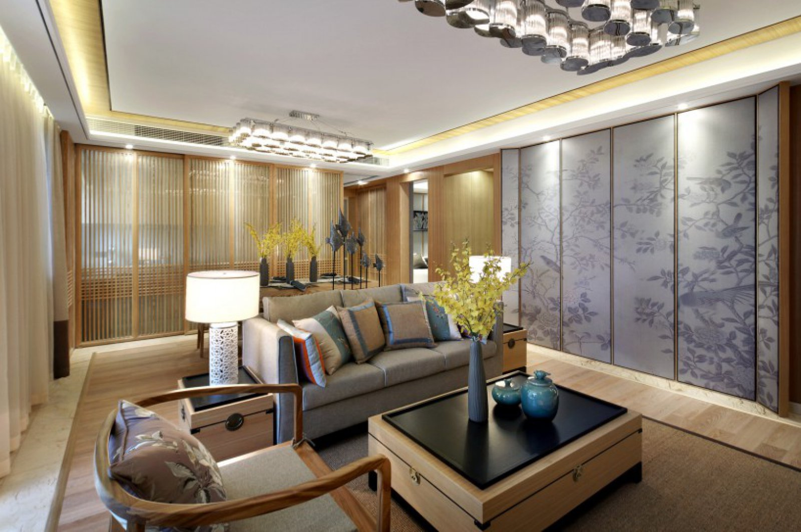 新中式原木风客厅装修效果图