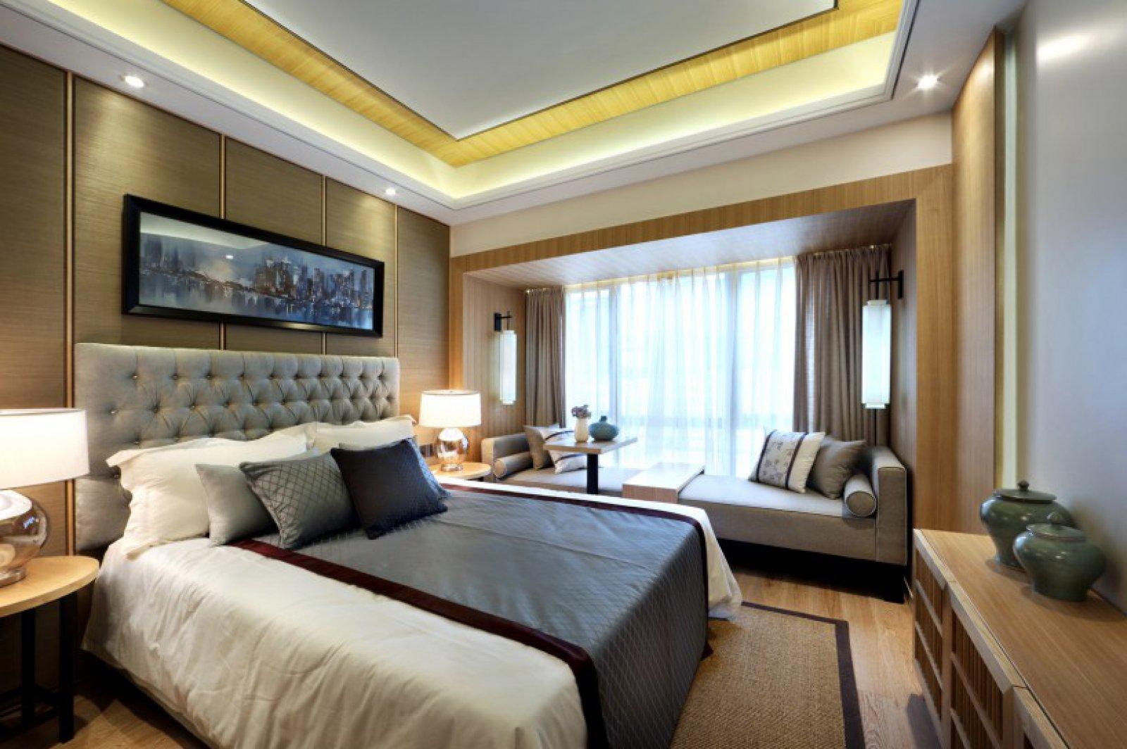 新中式原木风卧室装修效果图