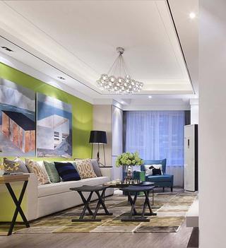 100平时尚现代风沙发背景墙装修效果图