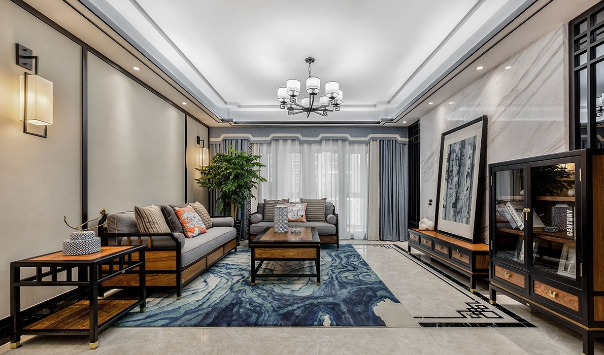 160㎡中式风格客厅装修效果图