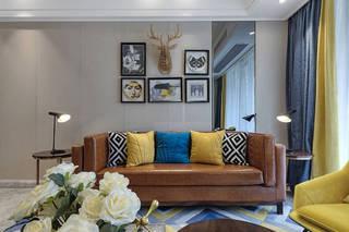 100㎡时尚现代风沙发背景墙装修效果图