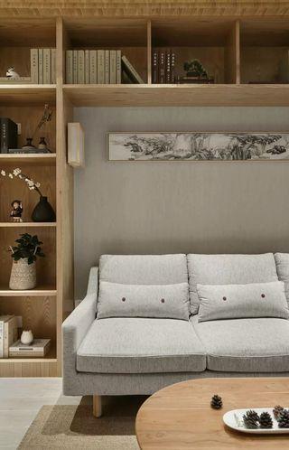 105㎡原木日式风沙发背景墙装修效果图