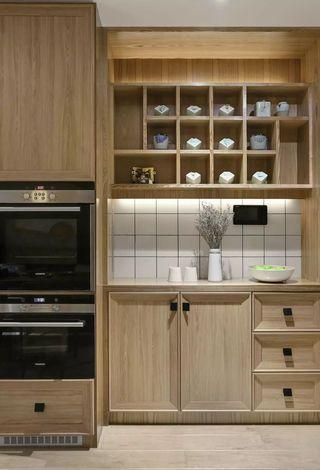 105㎡原木日式风厨房装修效果图