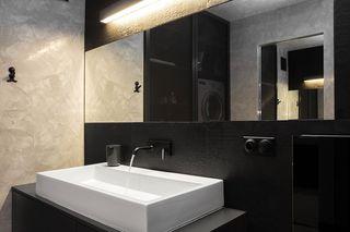 黑白简约风公寓洗手台装修效果图