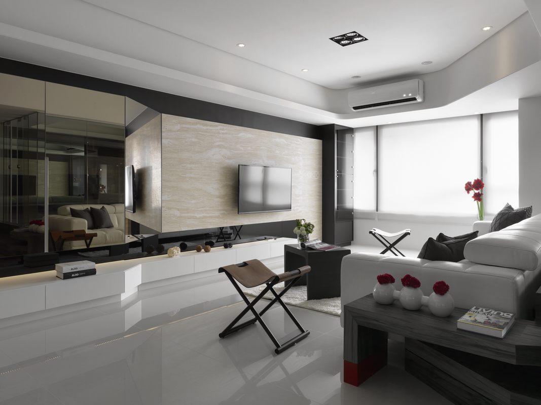 108平简约现代风格客厅装修效果图