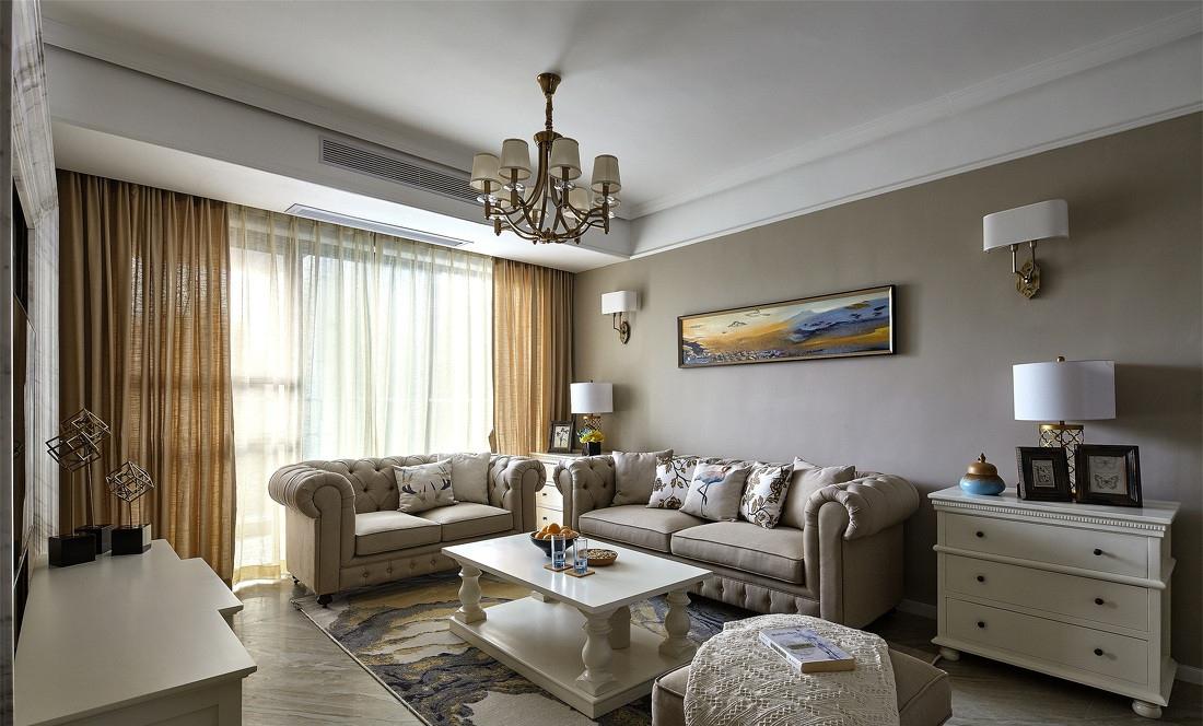 简欧风格三居室沙发背景墙装修效果图