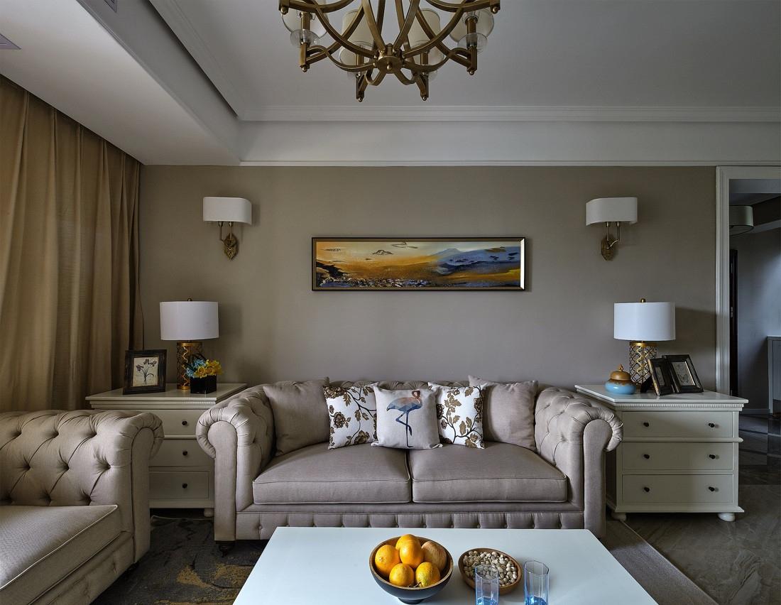 简欧风格三居室装修沙发布置图