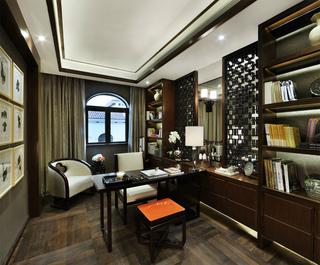 现代中式别墅书房装修效果图