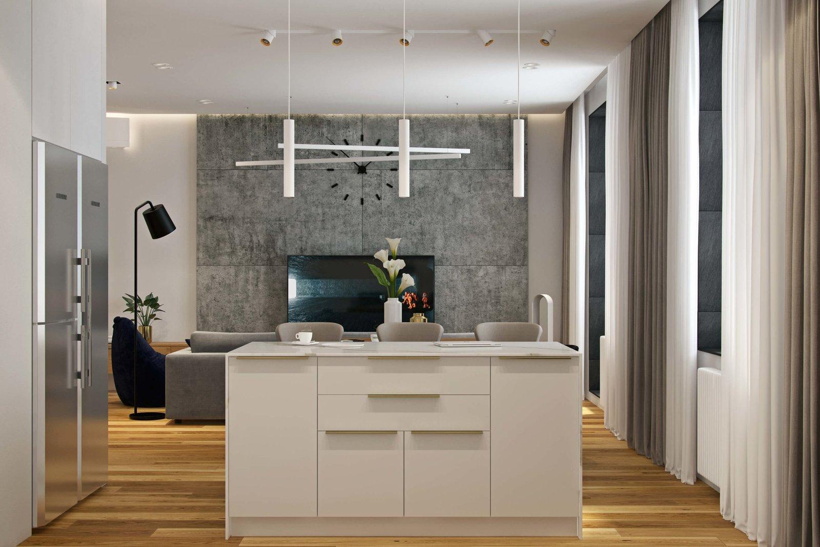 110㎡现代风公寓电视背景墙装修效果图