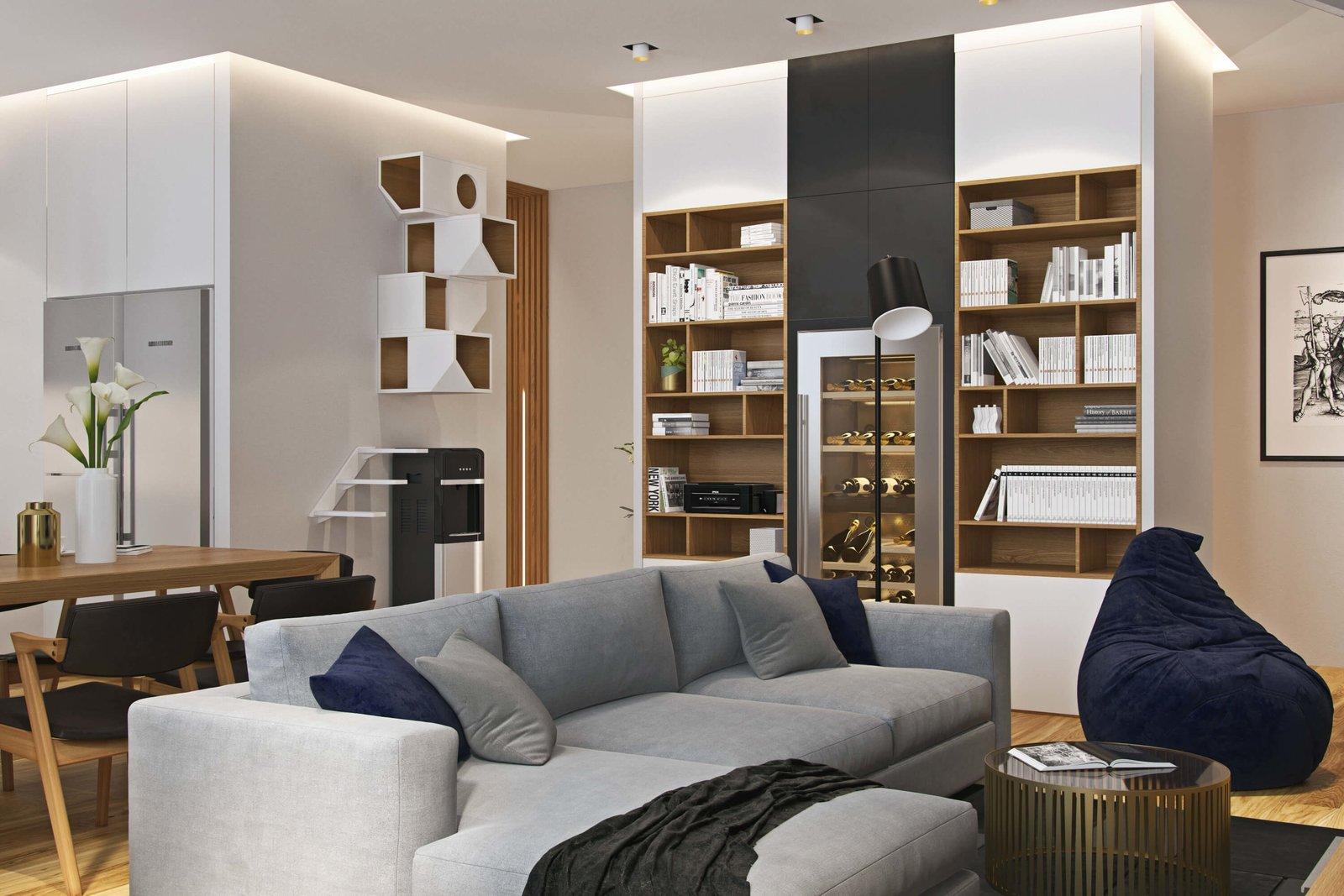 110㎡现代风公寓书柜装修效果图