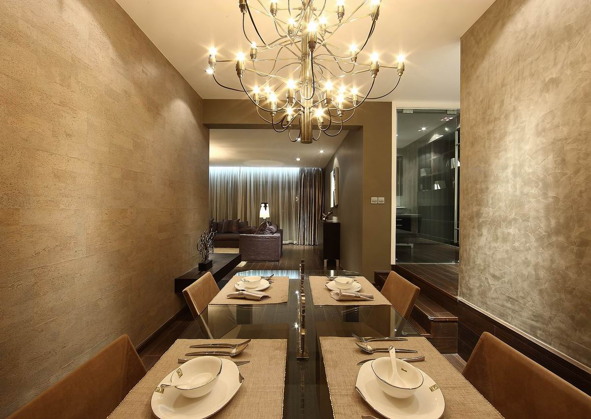 灰色现代简约三居餐厅装修效果图