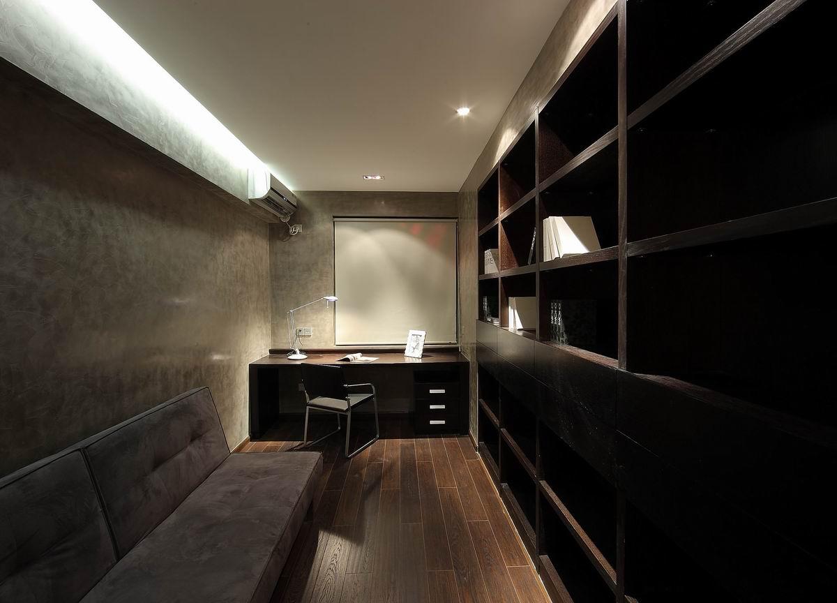 灰色现代简约三居书房装修效果图