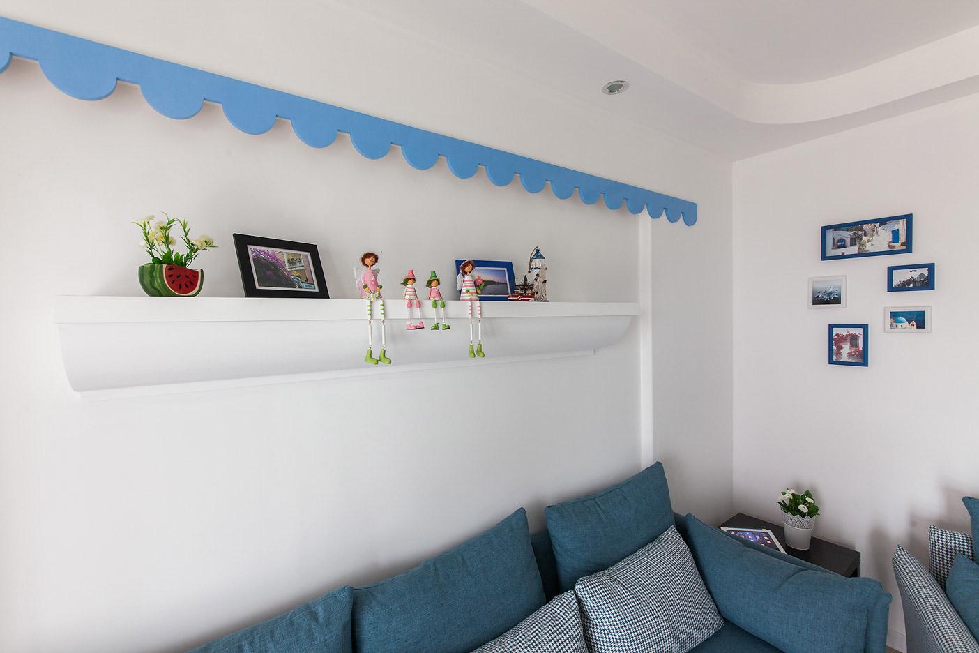 地中海风格二居沙发背景墙装修效果图