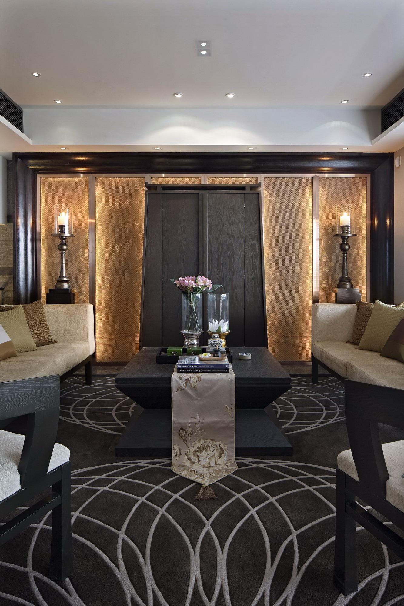 奢华新中式样板间客厅装修效果图
