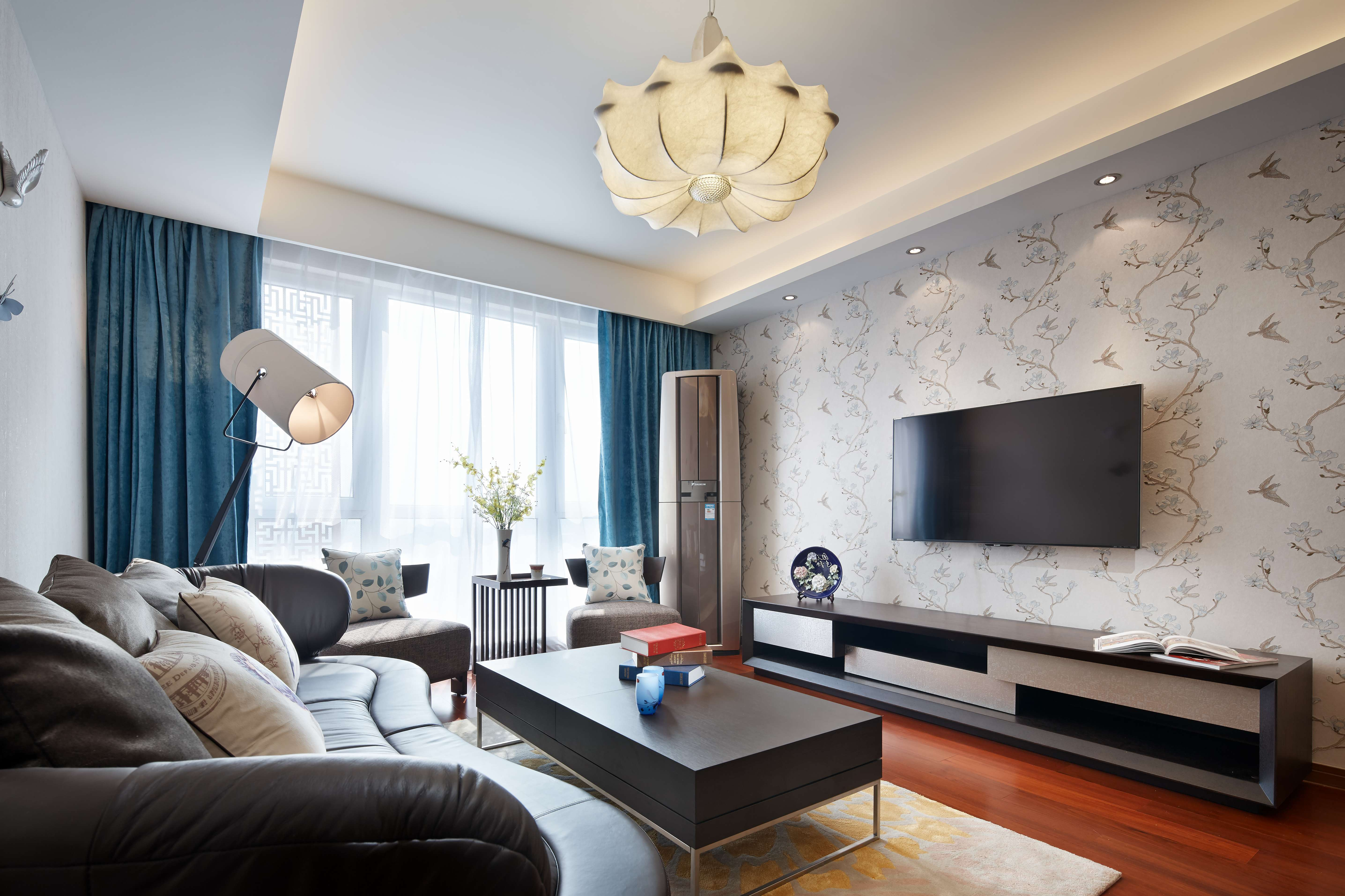 现代简中式三居客厅装修效果图