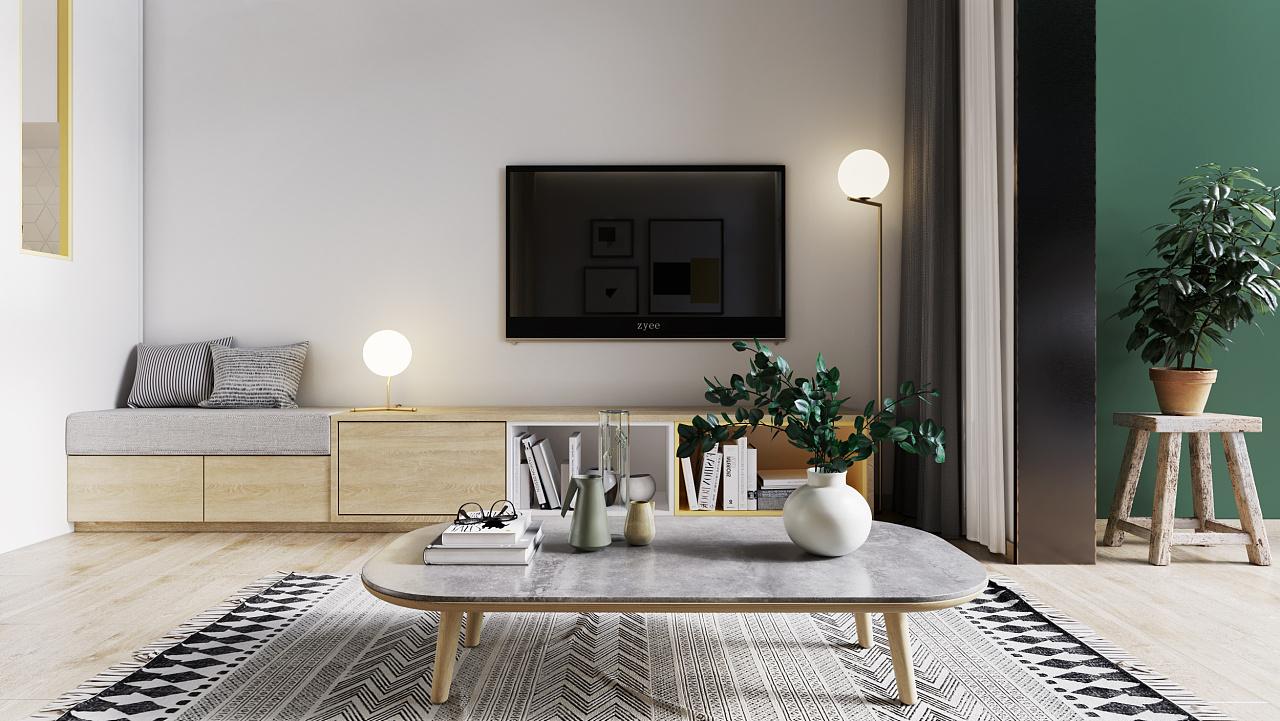 一居室小户型电视背景墙装修效果图
