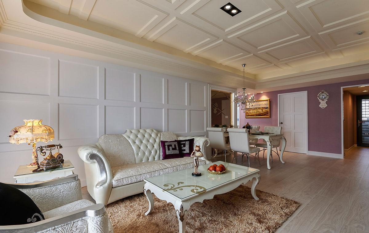 三居室简欧风格沙发背景墙装修效果图