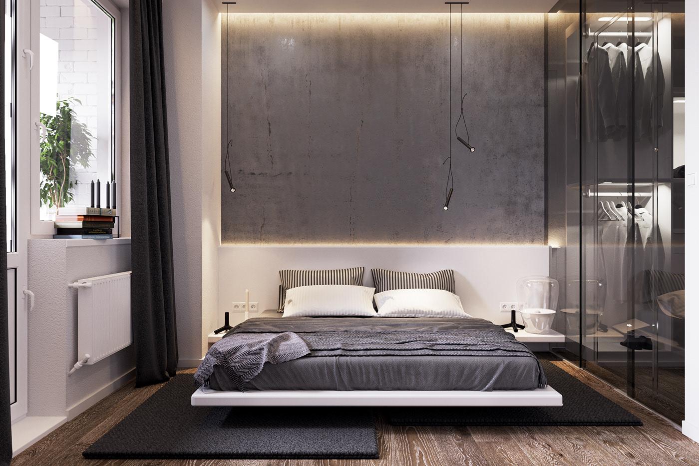 66平现代简约公寓卧室装修效果图