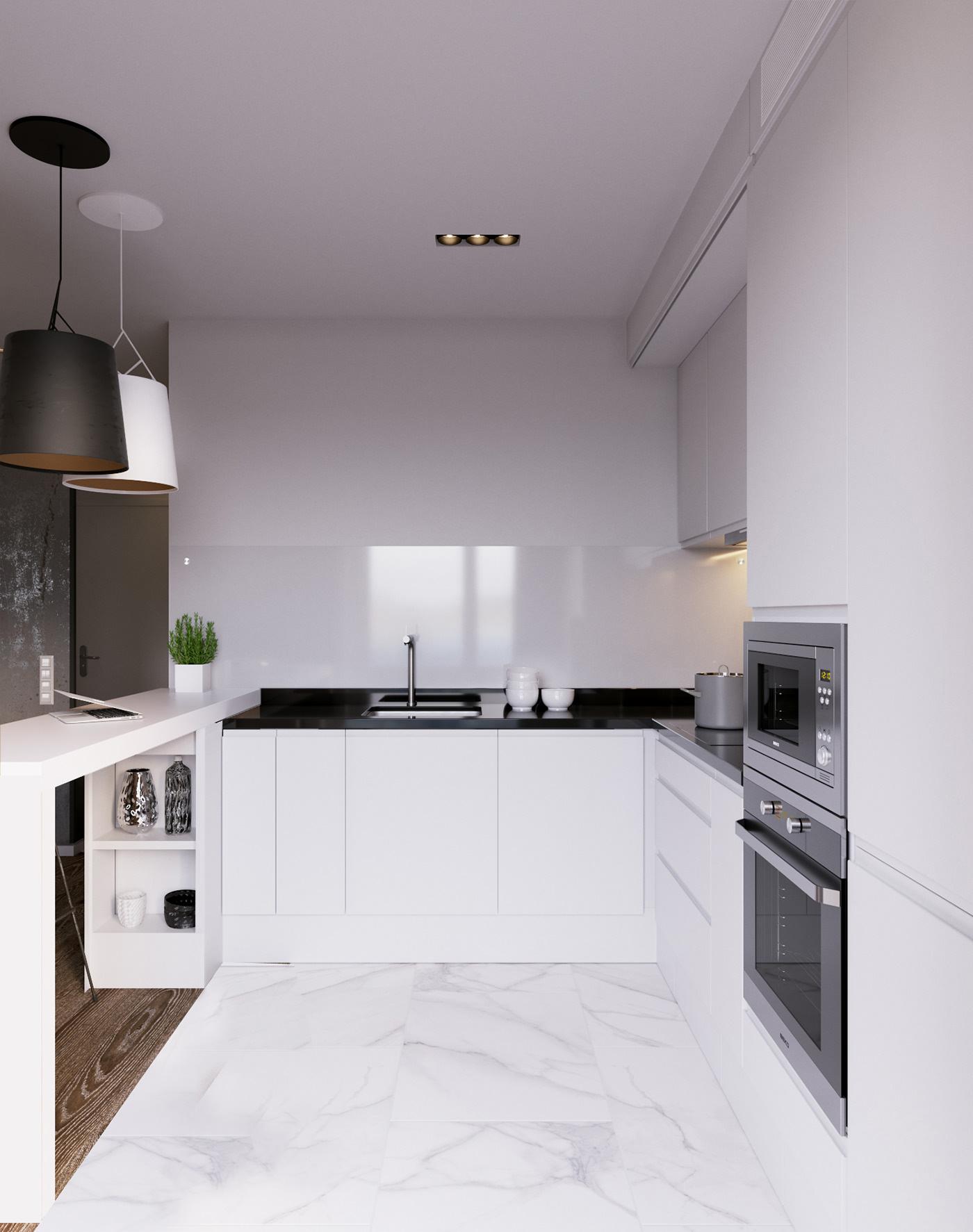 66平现代简约公寓厨房装修效果图