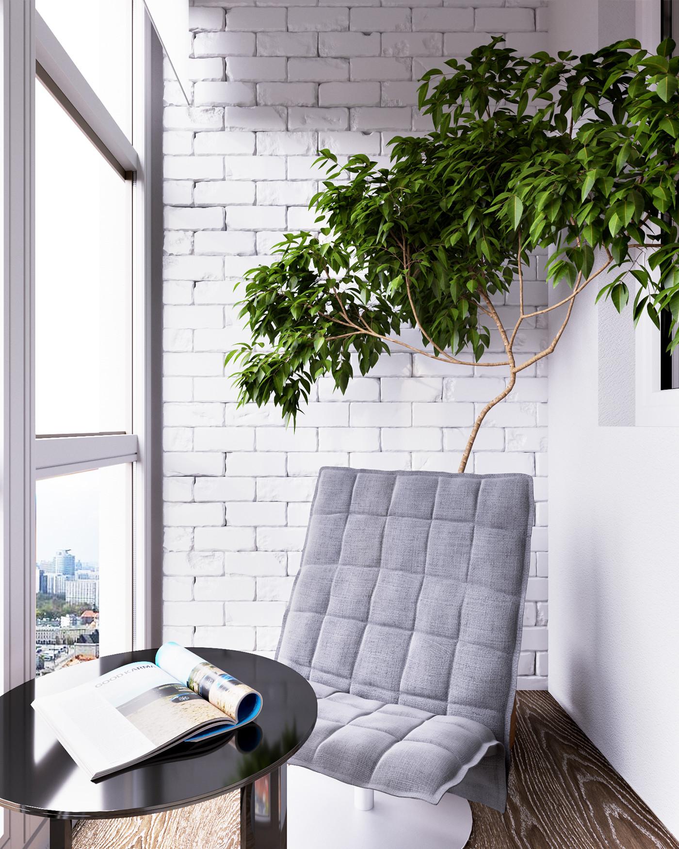 66平现代简约公寓阳台装修效果图