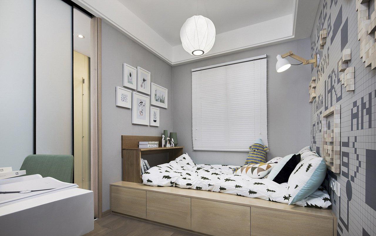 现代北欧三居榻榻米儿童房装修效果图