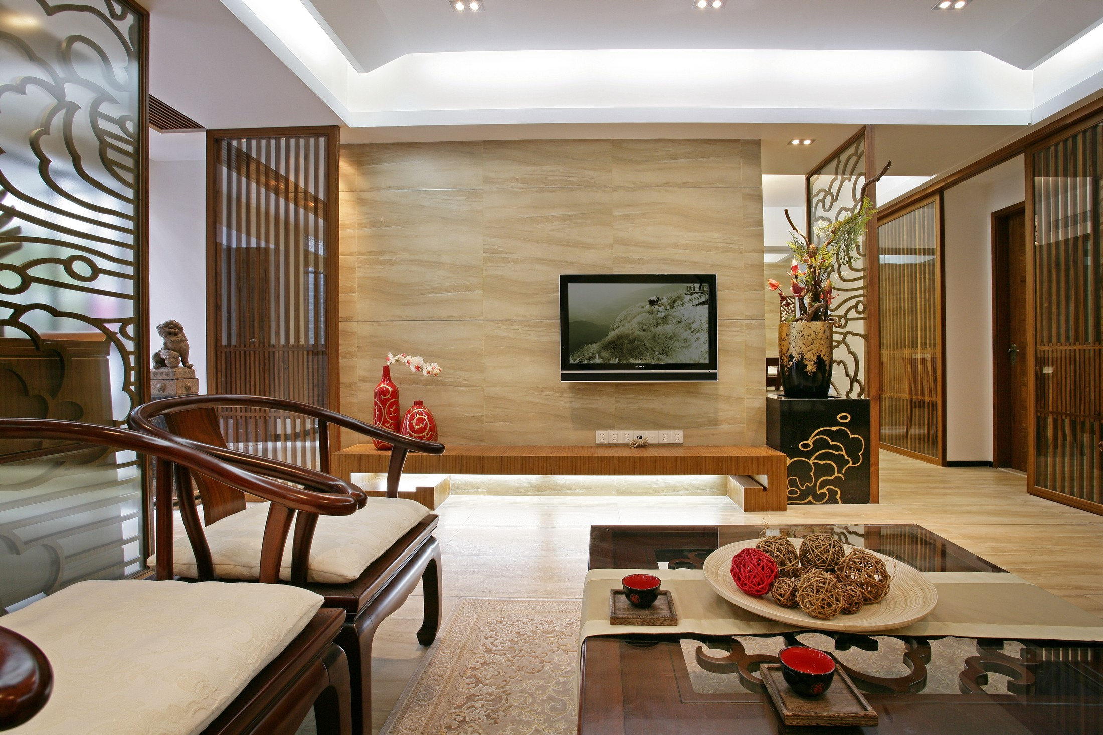 三居室中式风格电视背景墙装修效果图