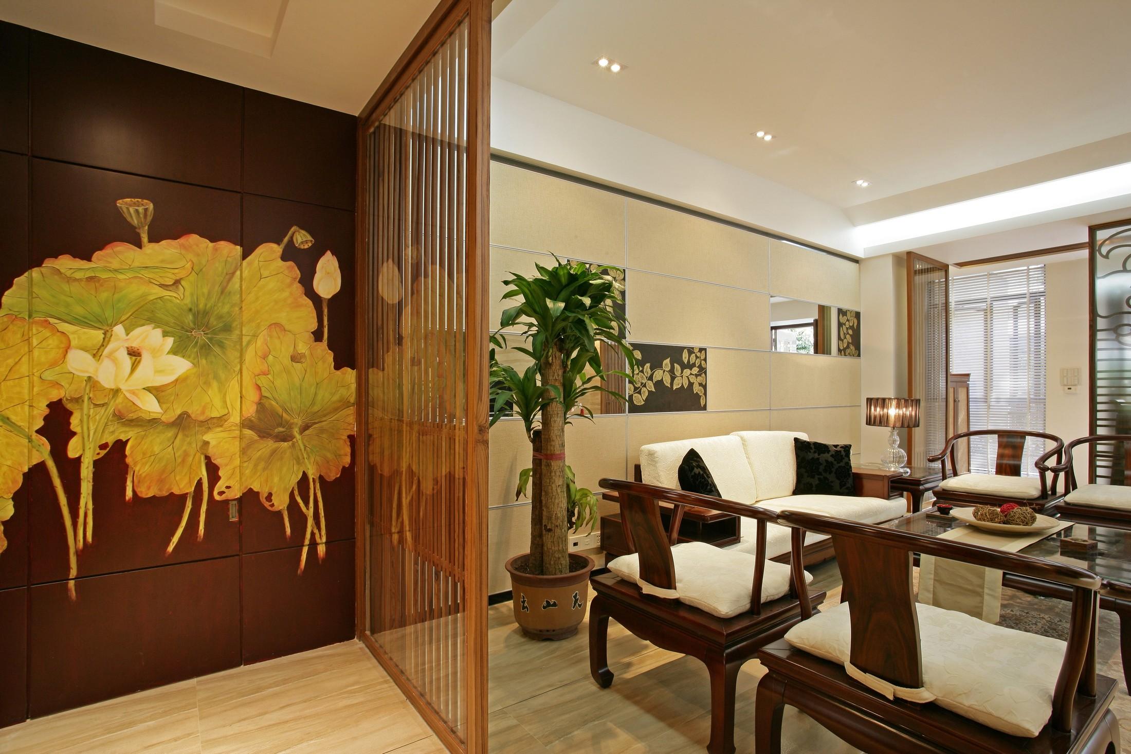 三居室中式风格木栅隔断装修效果图