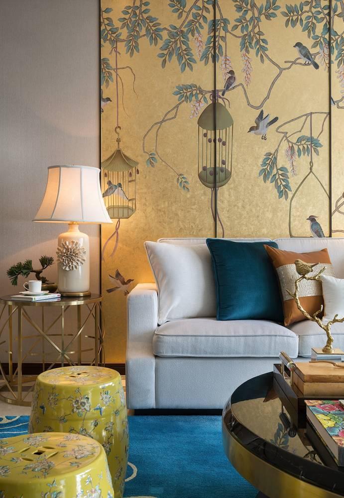 136㎡新中式三居沙发背景墙装修效果图