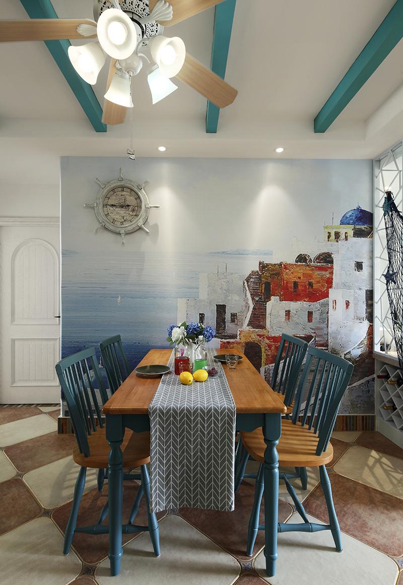 二居室地中海风格餐厅背景墙装修效果图