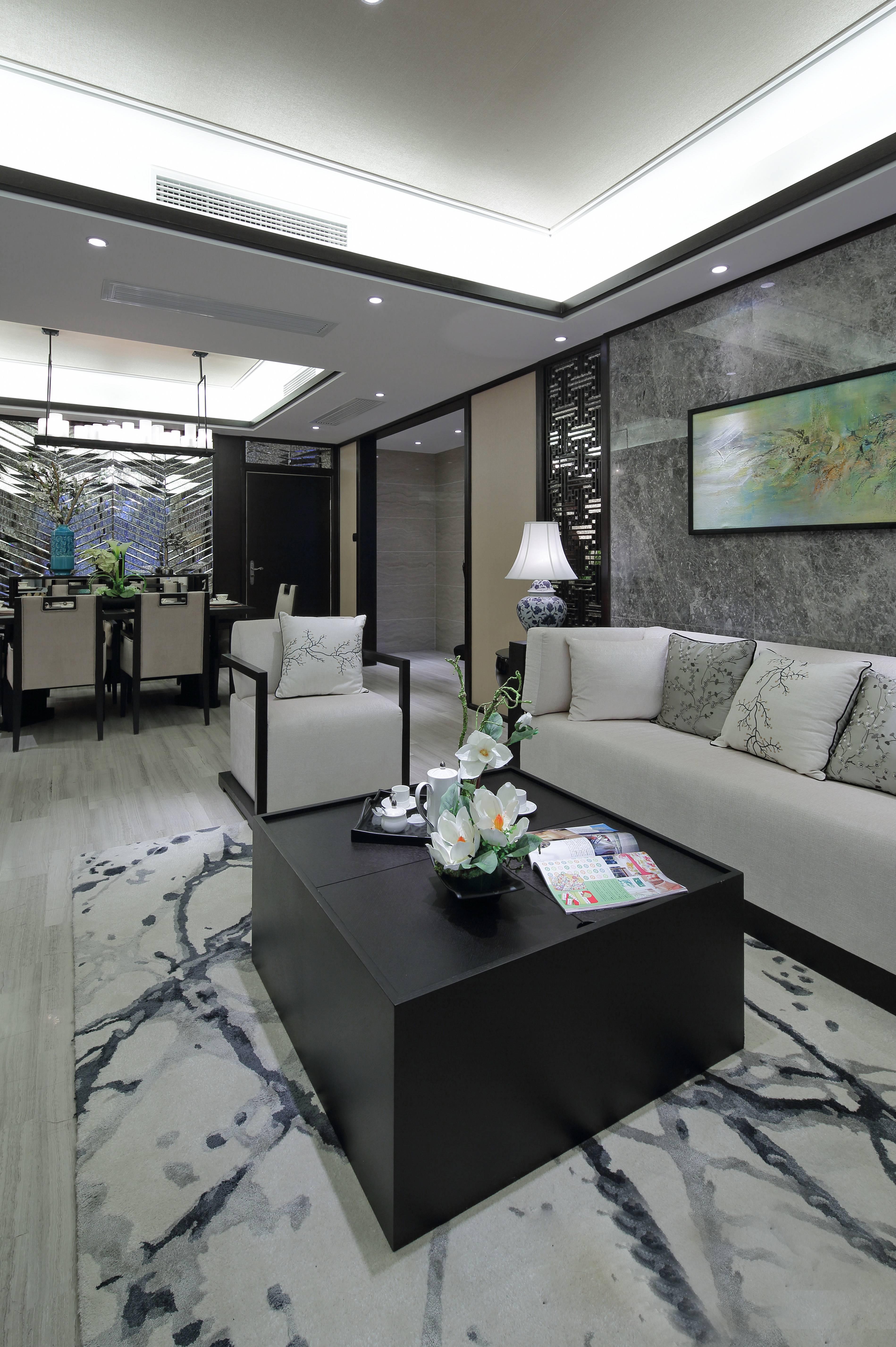 三居室新中式风格装修茶几设计图