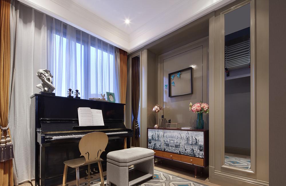 现代奢华别墅样板间钢琴房装修效果图