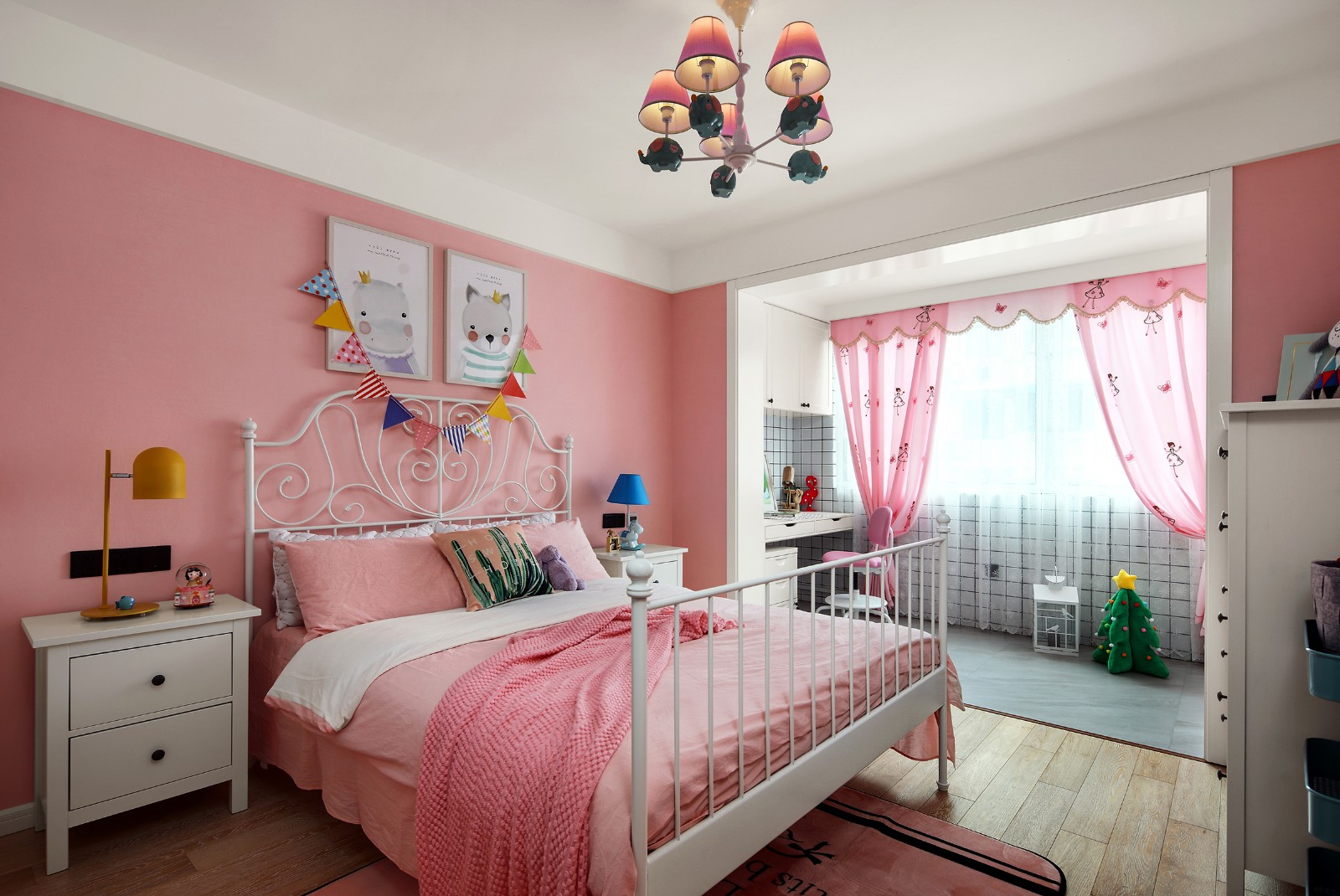 80平米现代北欧风粉色儿童房装修效果图