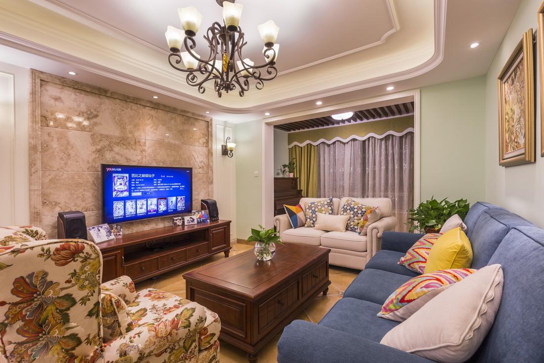 110㎡美式风格客厅装修效果图