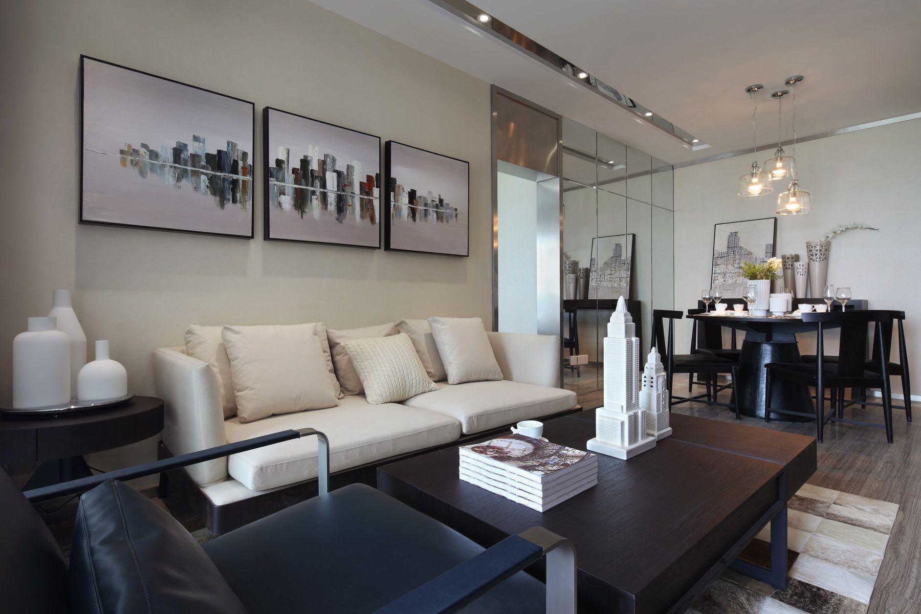 65㎡现代一居室沙发背景墙装修效果图