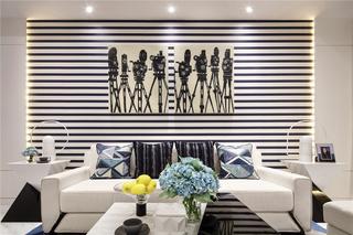 80㎡现代简约风格沙发背景墙装修效果图