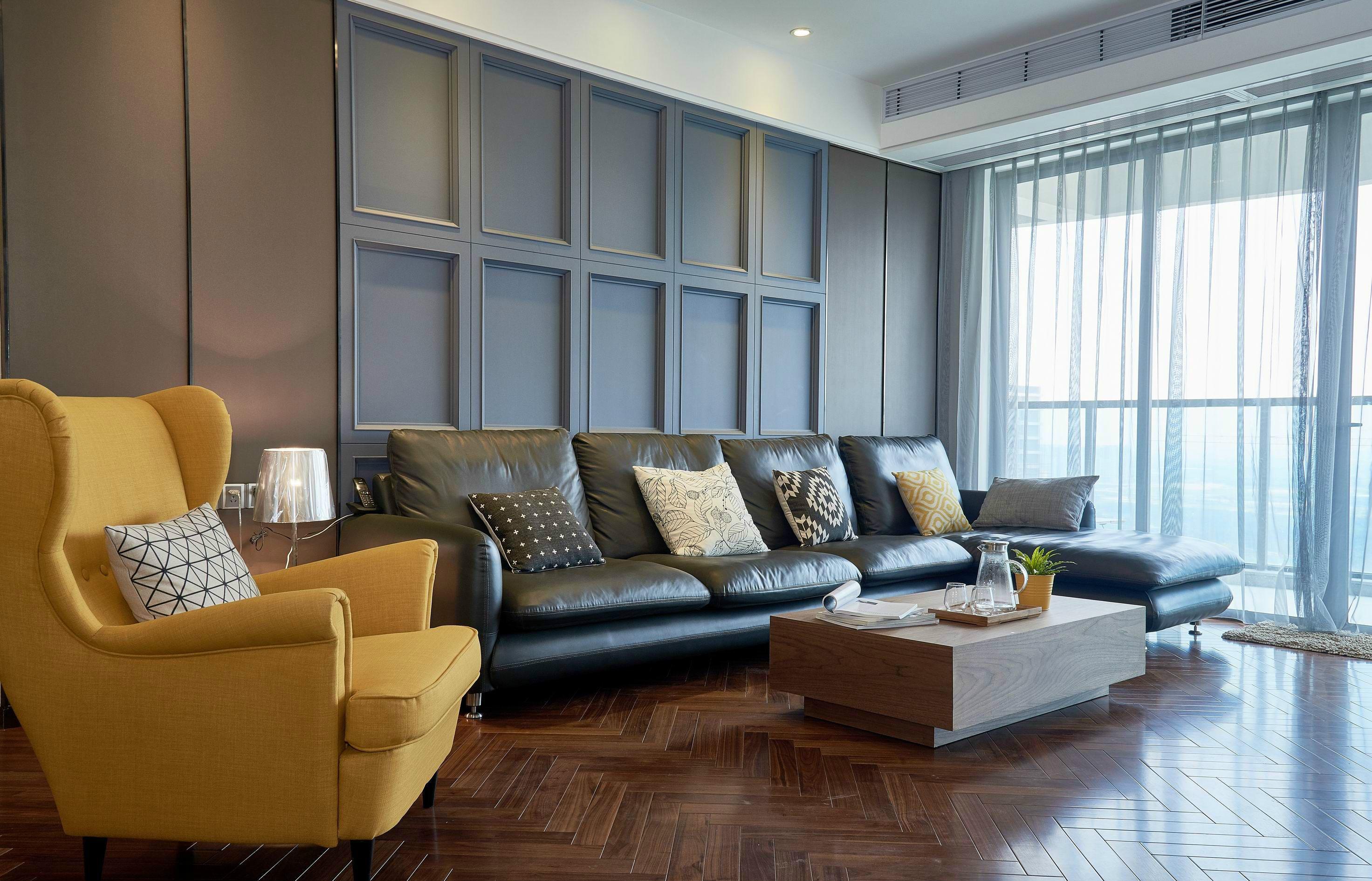 105㎡现代简约沙发背景墙装修效果图
