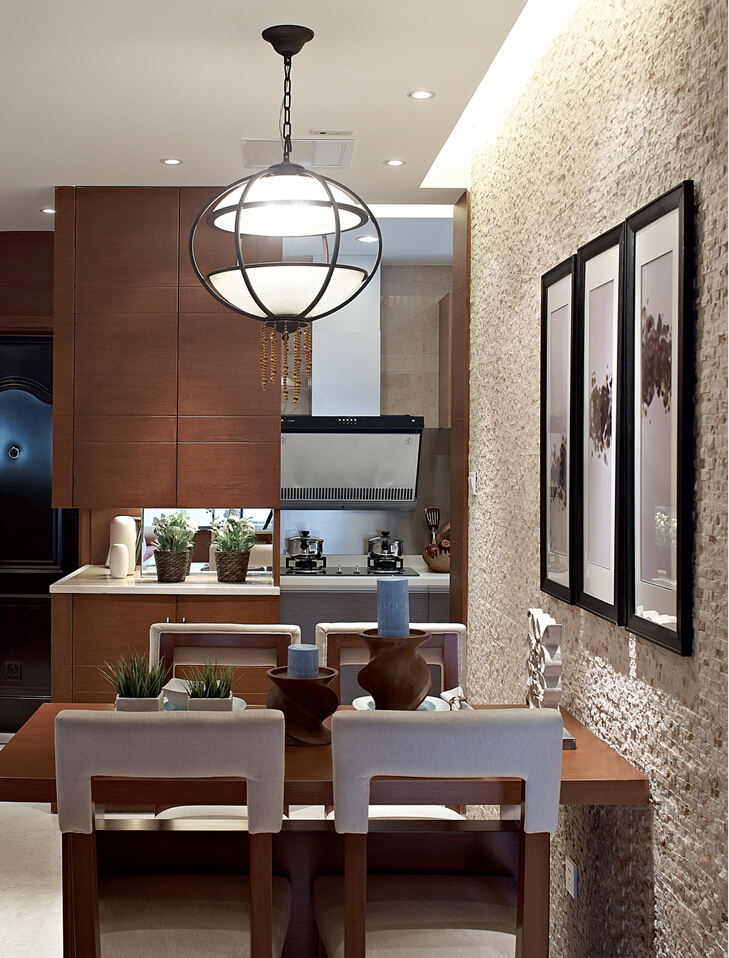 三居室东南亚风格餐厅装修效果图