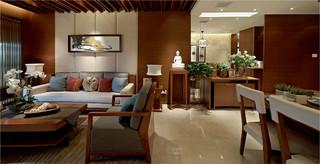 三居室东南亚风格客餐厅装修效果图